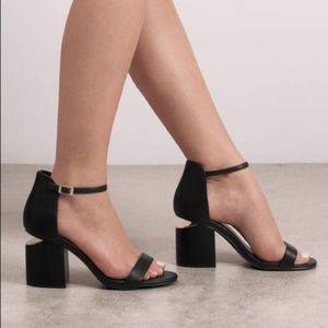 Black Ankle Strap Heeled Sandals